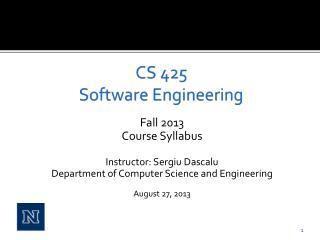 CS 425 Software Engineering