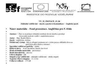 VY_32_INOVACE_23_06 Základní vzdělávání – Jazyk a jazyková komunikace – Anglický jazyk