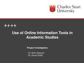 Use of Online Information Tools in Academic Studies