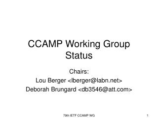 79th IETF CCAMP WG