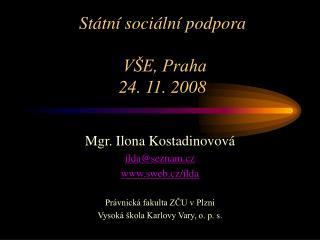 Státní sociální podpora  VŠE, Praha  24. 11. 2008