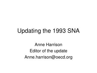 Updating the 1993 SNA