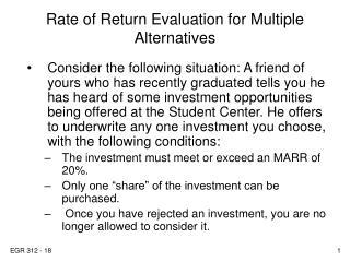 Rate of Return Evaluation for Multiple Alternatives