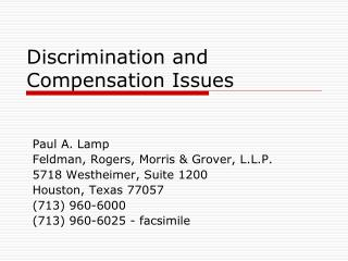 Discrimination and   Compensation Issues