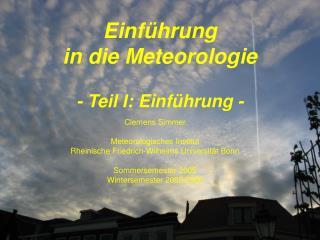 Einf hrung  in die Meteorologie    - Teil I: Einf hrung -