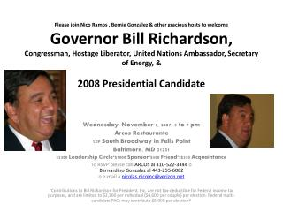 Wednesday, November 7, 2007, 5 to 7 pm Arcos Restaurante 129 South Broadway in Fells Point