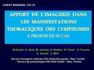 APPORT  DE  L'IMAGERIE  DANS  LES  MANIFESTATIONS THORACIQUES  DES  LYMPHOMES A PROPOS DE 30 CAS