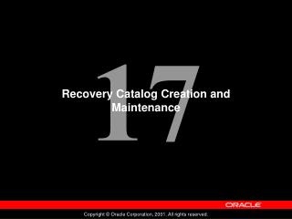 Recovery Catalog Creation and Maintenance