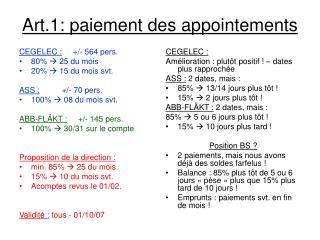 Art.1: paiement des appointements
