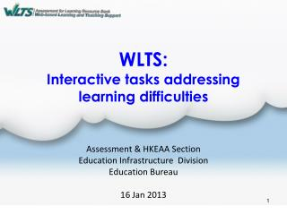 WLTS: Interactive tasks addressing learning difficulties