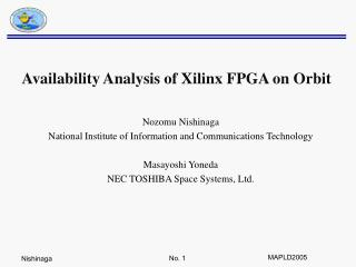 Availability Analysis of Xilinx FPGA on Orbit