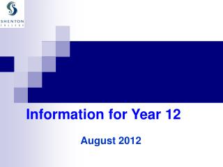 Information for Year 12
