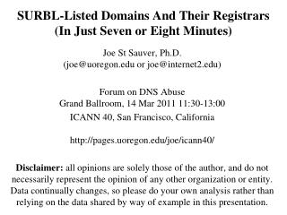 SURBL-Listed Domains And Their Registrars  (In Just Seven or Eight Minutes)