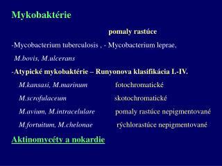 Mykobaktérie pomaly rastúce Mycobacterium tuberculosis , - Mycobacterium leprae,