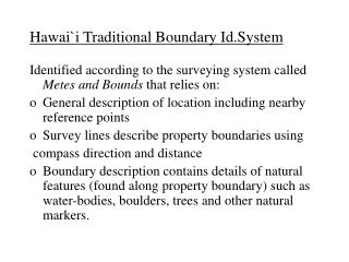 Hawaii Traditional Boundary Id.System