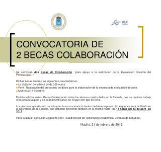 CONVOCATORIA DE  2 BECAS COLABORACIÓN