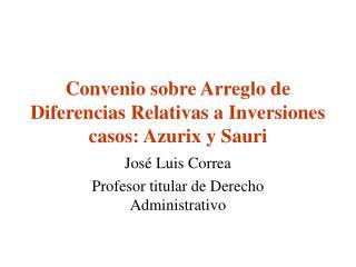 Convenio sobre Arreglo de Diferencias Relativas a Inversiones casos: Azurix y Sauri