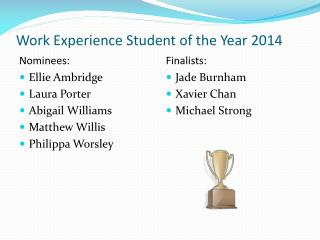 Work Experience Student of the Year 2014