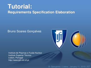 Tutorial: Requirements Specification Elaboration
