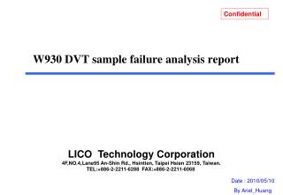 W930 DVT sample failure  analysis report