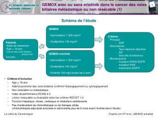 GEMOX avec ou sans erlotinib dans le cancer des voies biliaires métastatique ou non résécable  (1)