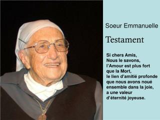 Soeur Emmanuelle Testament