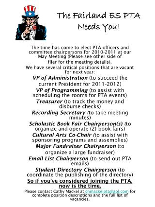 The Fairland ES PTA  Needs You!
