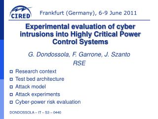 G. Dondossola, F. Garrone, J. Szanto  RSE Research context  Test bed architecture Attack model