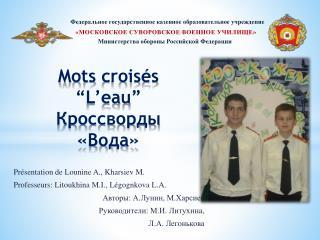 """Mots  croisés """" L'eau """" Кроссворды «Вода»"""