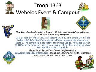 Troop 1363 Webelos Event & Campout