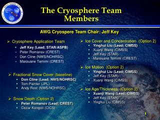 The Cryosphere Team Members
