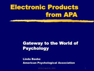 Electronic Products                   from APA