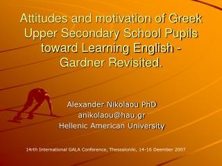 Alexander Nikolaou PhD anikolaou@hau.gr Hellenic American University