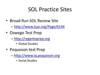 SOL Practice Sites
