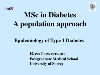MSc in Diabetes A population approach