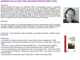 EHRHARDT, Damien (MCF, HDR, MELANGES INTERCULTURELS UEVE) Biographie
