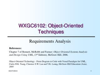 WXGC6102: Object-Oriented Techniques