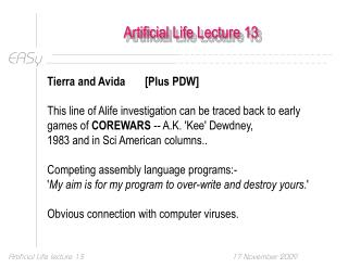 Artificial Life Lecture 13