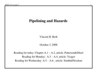 Pipelining and Hazards