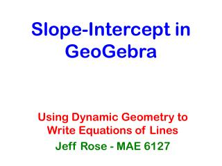 Slope-Intercept in GeoGebra