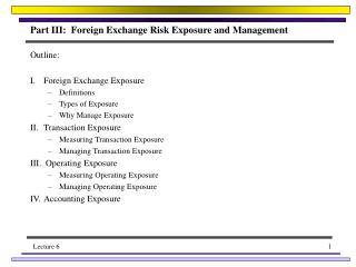 Part III:  Foreign Exchange Risk Exposure and Management