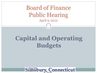 Board of Finance Public Hearing April 9, 2012