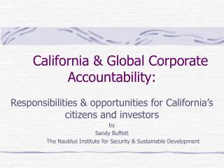 California & Global Corporate Accountability: