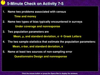 5-Minute Check on Activity  7-5