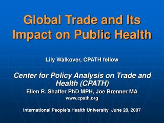 Global Trade and Its Impact on Public Health