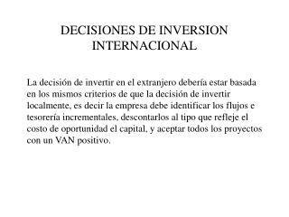 DECISIONES DE INVERSION INTERNACIONAL