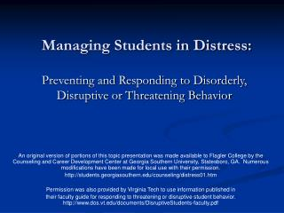 Managing Students in Distress: