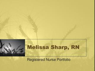 Melissa Sharp, RN