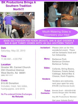 Date Saturday, May 22, 2010 Time 11:00 AM � 4:00 PM Location Greater Mt. Carmel Church