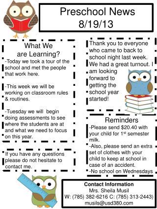 Preschool News 8/19/13